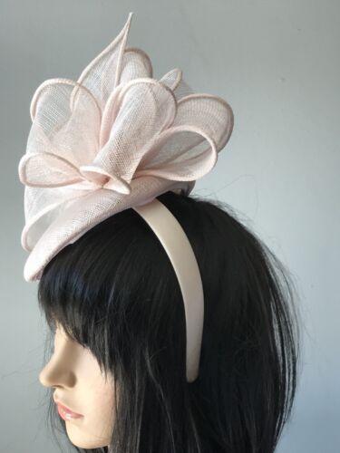 Perle Rose Mariage Ascot Disc Chapeau Fascinator races plumes mère de la mariée