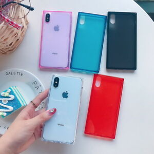 wholesale dealer 82729 1d1ba Details about Ultra Slim Rubber Soft Square Shell Case Cover For iPhone XS  Max XR X 8 6 7 Plus