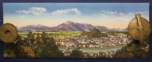 Kolorierte-Lithografie-Panorama-von-Salzburg-AK-1910-Chromolithographie-sf