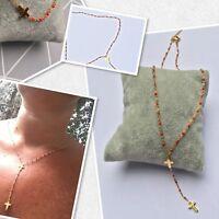 Collier Chapelet Perles Fines Rouge  Corail Croix  Plaque Or Réglable