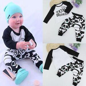 e358a8f7a 2pcs Newborn Toddler Infant Baby Boy Girl Clothes T-shirt Tops+Pants ...
