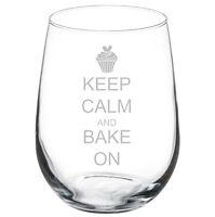 Keep Calm Bake On Cupcake Stemmed 10oz / 20oz / Stemless Wine Glass