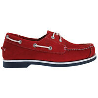 Timberland EK Peak Island 2 Eye Junior Boys Red Leather Boat Shoes (6896R D25)