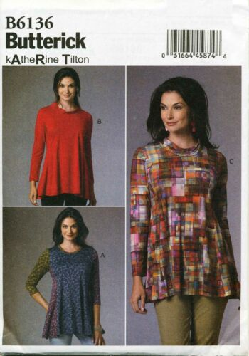 BUTTERICK SEWING PATTERN 6136 MISSES 4-14 FLARED PULLOVER TUNIC PRINCESS SEAMS