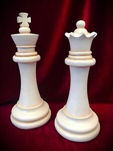 Chess Pieces Statue King And Queen Over 11 Tall Home Decor Art