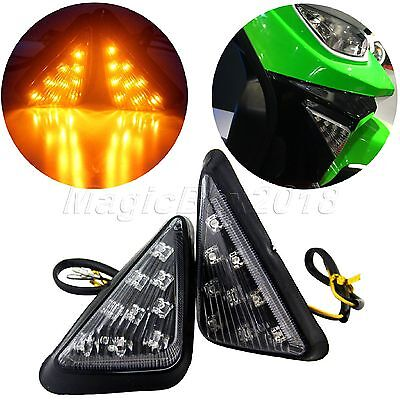 2X Universal Motorcycle LED Turn Signal Indicator Blinker Amber Light 10mm