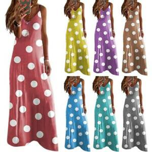 Women Sleeveless Polka Dot Long Dress Ladies Summer Beach Party Maxi Sundress UK