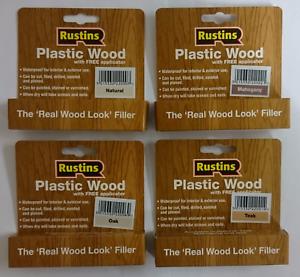 Details About Rustins Plastic Wood Filler With Free Applicator Teak Oak Mahogany Natural Pine