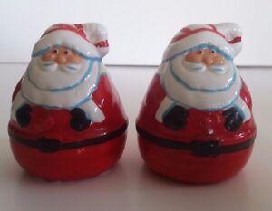 Christmas Chubby Santa Holiday Salt & Pepper Shakers Ceramic Vintage