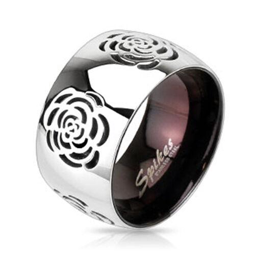 Ring 316l acero inoxidable Rose Maze grabado Two Tone dos colores Black IP banda gótica