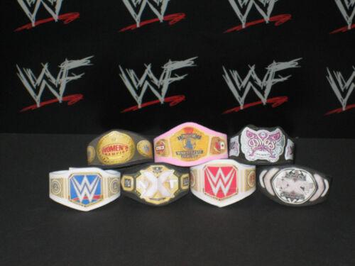 7 x Custom WWF WWE Womens Title Belts For Hasbro Mattel Retro Wrestling Figures