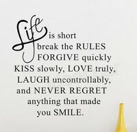 Life Is Short Love Quote wall art sticker vinyl decal home room decor Remonable