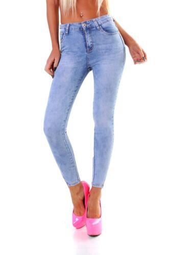 4449 Knackige Damen Jeans Röhre Skinny Treggings Slimfit Stretch Denim Spitze