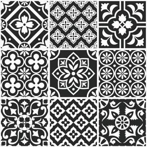 Traditional-Tile-Stickers-Vintage-Transfers-Kitchen-Bathroom-Black-and-White-T2