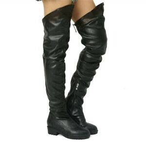 2019-Fashion-Low-Heels-Women-Pull-On-Over-Knee-High-Boots-Zipper-Casual-Boots-US