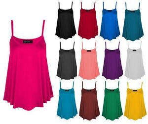 New-Womens-Ladies-Cami-Sleeveless-Swing-Vest-Top-Strappy-Plain-Flared-Plus-Size