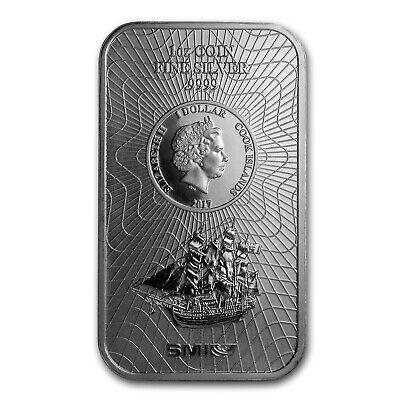 2019 Cook Islands 1 oz .9999 Silver Bounty Coin BU W// Capsule