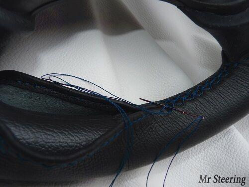 Pour Vauxhall Astra G MK4 Real Noir volant en cuir couverture blue stitch