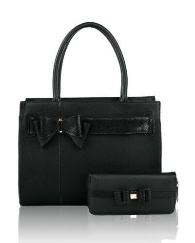 NUOVO Elegante Femminile 2 in 1 grandi dimensioni con fiocco e dettagli Nastro Top-Handle Bag Set