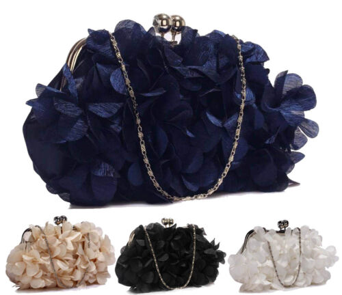 Womens Prom Party Wedding Bag Ladies Kiss Lock Satin Flower Evening Clutch Purse