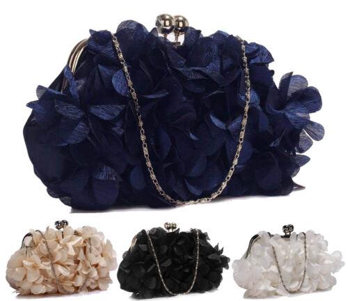 Womens Prom Party Wedding Bag Ladies Kiss Lock Satin Flower Evening Clutch Purse