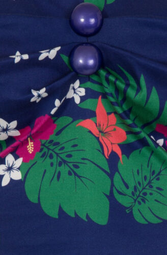 Dolores Gypsy Up Tahiti Tiki Hibiscus Vintage Bluse Pin Collectif Rockabilly Pw0dqn7Uq