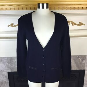 MASSIMO-DUTTI-Womens-M-Navy-V-Neck-Elbow-Patch-Wool-Cashmere-Cardigan-Sweater