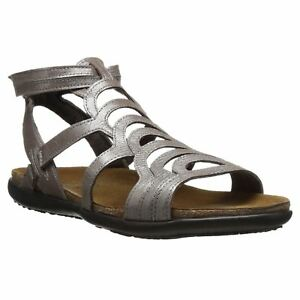 7890c3a0dbc7 Naot Sara Silver Threads Womens Leather T-Bar Gladiator Strappy ...