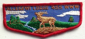 MERGED-ALLEGEWI-OA-LODGE-455-SCOUT-PATCH-FLAP-RED-BORDER-CLOTH-BACK-1960s-MINT