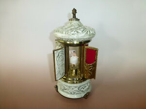 Vintage Reuge Dancing Ballerina Music Box Carousel Holder Porcelain