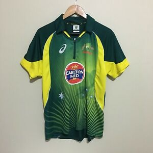 Cricket-Australia-Asics-2014-Carlton-Draught-Team-Polo-Shirt-Green-Mens-Medium