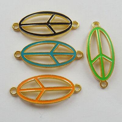 Free Ship 32pcs mixed color enamel alloy peace symbol connectors 36x15mm