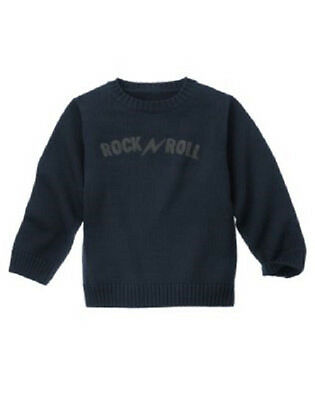NWT Gymboree Kid Boy ROCK ACADEMY Navy Rock N Roll Sweater 3 4 5 6