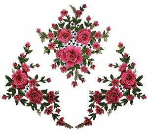 Set of 3 Large 3D Embroidered Appliques Rose Floral Clusters Sewing ... 6ab317572a9a