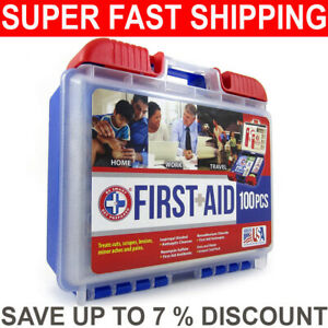 First Aid Kit, Emergency Bag Travel and Home Office Car Vehicle, 100 Pieces
