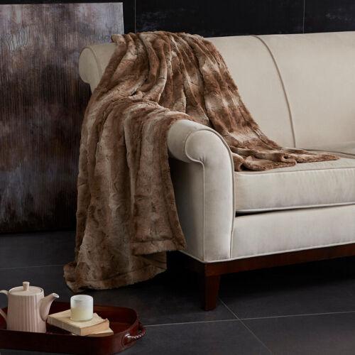 Silky Soft Faux Grey Blush Brown Tan Sand Chinchilla Fur Sofa Blanket Throw New