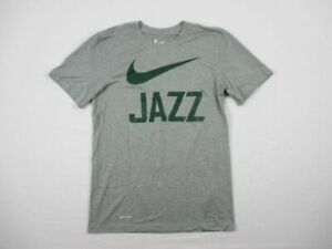 NEW-Nike-Utah-Jazz-Gray-Dri-Fit-Short-Sleeve-Shirt-Multiple-Sizes