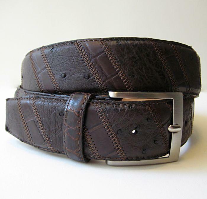 Ltd Morigi Original Krokodil ~Strauß~ Leder Verstellbarer Gürtel - Made IN Italy