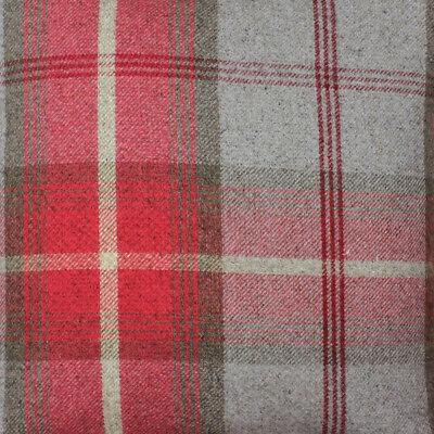 Elgin Pink Mauve Wool Effect Thick Tartan Upholstery Curtain Designer Fabric