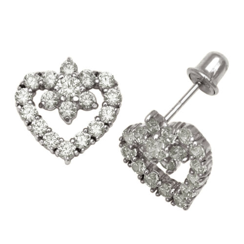 Details about  /14K White Gold Open Heart Birthstone Stud Screwback Earrings