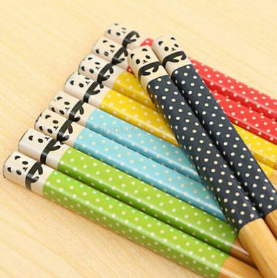 FD5101 □ Natural Bamboo Cute Panda Dot Wood Chopsticks Kitchen Random 1 Pair