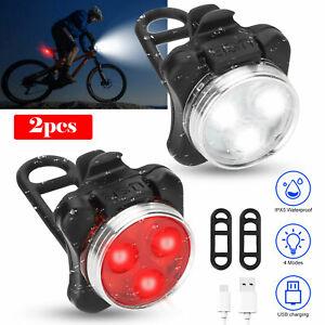 USB-3-LED-Bike-Light-Bicycle-Headlight-Taillight-Front-Rear-Lamp-Flashlight-IPX5