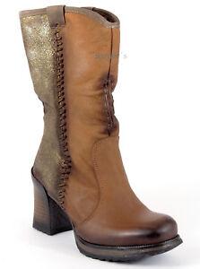 BUNKER-Stiefel-39-Nappa-LEDER-Cognac-Braun-Gold-Brush-Plateau-Portugal-Boots-NEU