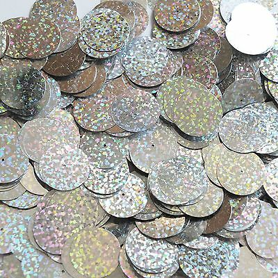 20mm Sequins Center Hole Silver Hologram Glitter Sparkle Metallic. Made In Usa