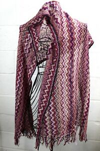 MISSONI-Multi-Color-Magenta-Pink-Red-Zig-Zag-Print-Knit-Mohair-Shawl-Wrap-Scarf