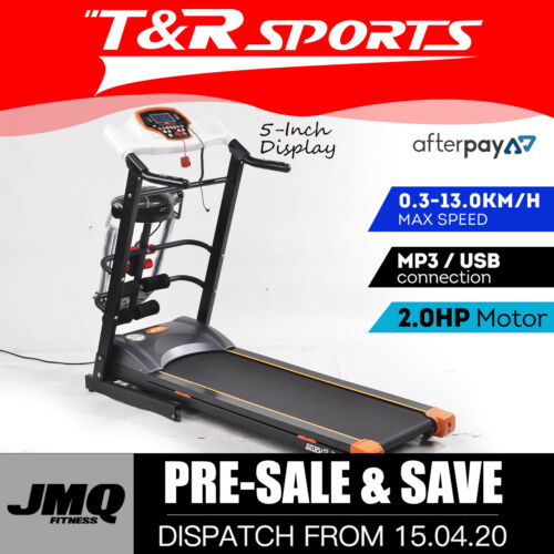 JMQ Fitness SP1008 Folding Incline Treadmill w/ Multi-functional Accessories White