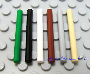 NEW Lego Set/6 BARS-MAGIC WANDS -Green Black White Brown GrayTan - Harry Potter