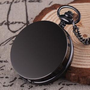 Full-Hunter-Quartz-Movement-Black-Pocket-Watch-Vintage-Pendant-Chain-Men-Women