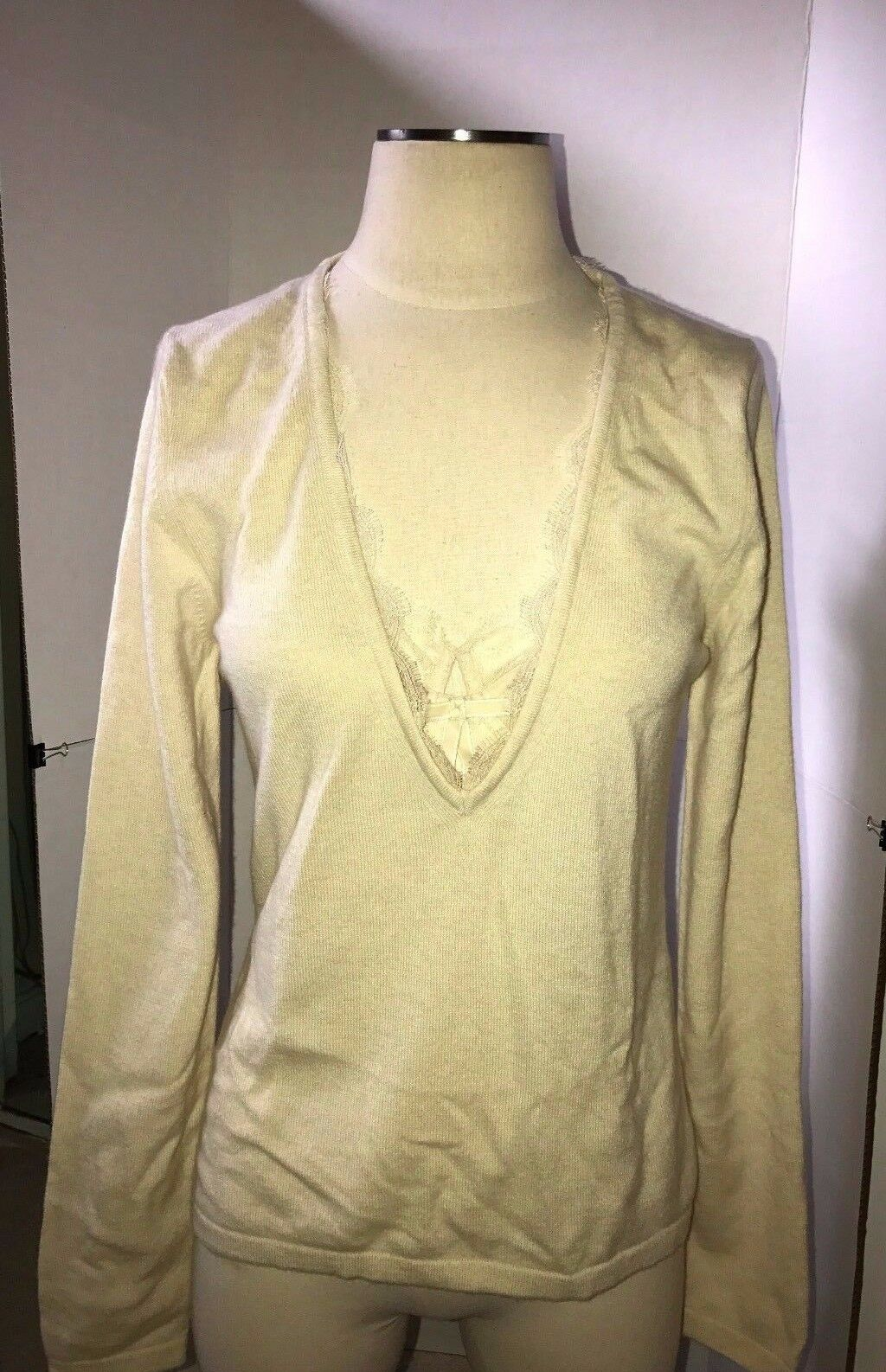 Wolford Cashmere V - Neck Top Long Sleeve Größe  Large Farbe  Cream  59178 - 70