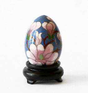 D Competent Uovo Cloisonnè Decoro Fiori Oriental Ancient Antique Egg Copper H.8cm 4,5cm Sales Of Quality Assurance